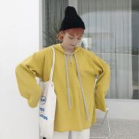 卫衣 女士领口撞色系绳连长袖帽卫衣2020年秋季新款韩版时尚潮流女式宽松休闲女装套头衫