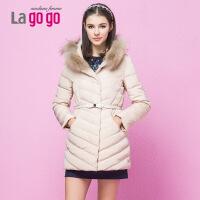 Lagogo/拉谷谷冬季修身纯色中长款羽绒服DDF453G511