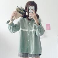 春夏新款女装韩版花边拼接衬衫学生休闲宽松百搭立领娃娃衬衣上衣 绿色 均码