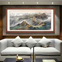 万里长城国画靠山图山水画客厅装饰画巨幅办公室挂画背景墙壁画 60*120cm 实木外框+有机玻璃