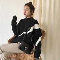 秋冬女装韩版宽松加厚套头毛衣个性拼色学生长袖针织衫上衣外套潮