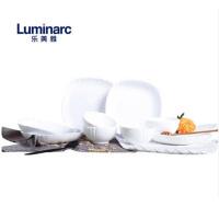 法国乐美雅 10件套白玉钢化玻璃碗盘家用碗碟套装微波炉可用 N5459 白色