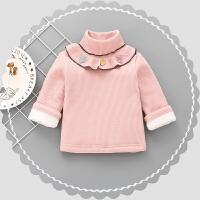 女童毛衣套头加厚2017秋童装新款加绒儿童女宝宝高领针织打底衫 粉红色 高领三彩叶打底衫