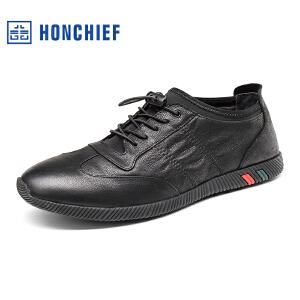 HONCHIEF 红蜻蜓旗下2017秋季时尚休闲真皮休闲潮流系带男皮鞋