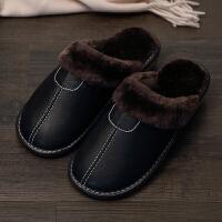情侣棉拖鞋冬季居家男女室内地板防滑月子厚底保暖家居皮拖鞋冬天 黑色 男