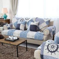 地中海帆船风斜纹棉布布艺沙发垫坐垫防滑棉布沙发巾套罩定制