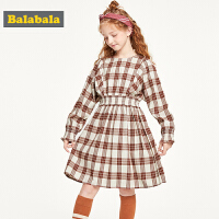 巴拉巴拉童装女童连衣裙儿童裙子2019新款秋装洋气格纹公主裙韩版