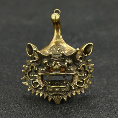 特色民俗铜手工艺饰品醒狮麒麟狮吊挂件复古黄铜钥匙扣配件