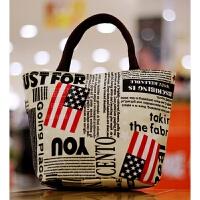 韩版小包防水加厚手提包饭盒包买菜包小布包便当包细帆布女包 美 牛津