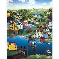1000片木质拼图定制500益智玩具手绘漫画欧洲小镇风情