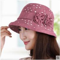 秋天帽子盆帽渔夫帽韩版优雅遮阳帽花朵时尚贝雷帽子女鸭舌帽冬