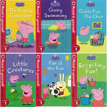 英文原版绘本Peppa Pig Read it yourself with Ladybird Level 1粉红猪小妹佩琪分级阅读6册合售 小猪佩奇 英文原版书