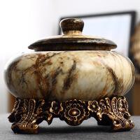 欧式复古陶瓷大号带盖烟灰缸烟缸创意 烟灰缸茶几装饰摆件