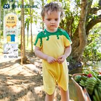迷你巴拉巴拉新生婴儿衣服2021夏装男童宝宝纯棉萌趣连体衣爬服