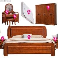 成套现代简约中式实木家具套装组合卧室欧式主卧婚房床衣柜六件套 配 (B款梳妆台) +180元
