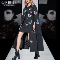 欧美时尚毛呢套装裙2017秋冬高端时装刺绣羊毛斗篷大衣外套女