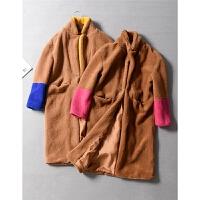 西班牙单洋气袖部撞色拼接翻领仿皮草毛绒大衣长外套秋冬女装1.05