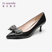 莱尔斯丹 女鞋时尚优雅通勤尖头浅口蝴蝶结套脚猫跟细跟女单鞋LS AT53205