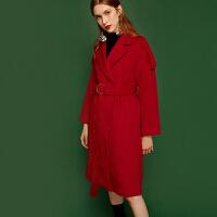 【3折到手价:210元】爱客赫本风毛呢外套女中长款chic秋冬红色收腰新款流行大衣