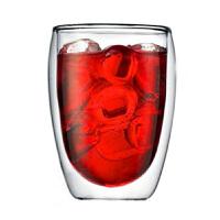 350ml 耐热咖啡杯果汁饮料杯子双层玻璃杯隔热透明蛋形茶杯创意水杯
