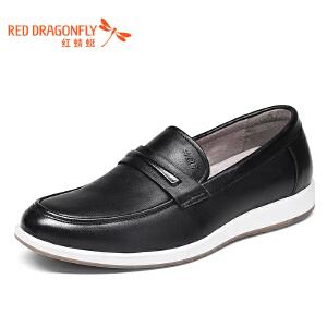 红蜻蜓男鞋2017年春秋新款男士时尚休闲单鞋舒适真皮套脚鞋正品