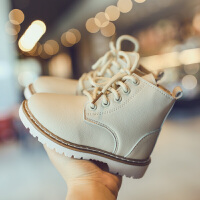 2018冬季新款儿童靴子英伦学院风加绒保暖软皮女童男童短靴马丁靴