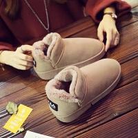 新款冬季加绒加厚面包鞋雪地靴短筒防滑绒面棉鞋学生女靴子百搭 驼色 雪地靴