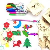 儿童六一礼品木板绘画套装画画工具宝宝涂鸦涂色填色模板