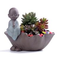 创意家居摆件小和尚花器家居装饰品水培多肉花盆花瓶陶瓷Q 中