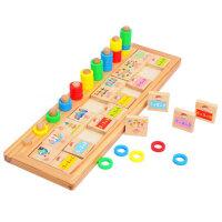 杜曼闪卡 儿童蒙氏教具 彩虹甜圈对数板 儿童益智认知木制质早教玩具
