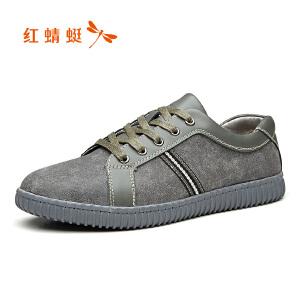 红蜻蜓男鞋 2017秋季新品潮流舒适系带单鞋休闲低帮系带皮鞋板鞋