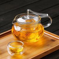 耐热玻璃花茶壶飘带壶三件式过滤内胆泡茶壶玻璃压把茶壶咖啡壶450ML玻璃水杯壶功夫茶具