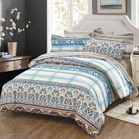 当当优品家纺 纯棉斜纹印花床品 双人加大床单四件套 英伦浪漫