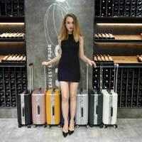 【支持礼品卡】USO复古铝框拉杆箱万向轮英伦风欧美旅行箱8178-20寸登机行李箱赠送箱套+U枕