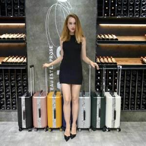 【支持礼品卡】USO复古铝框拉杆箱万向轮英伦风欧美旅行箱8178-20寸登机行李箱赠送箱套+贴纸