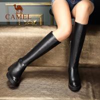 camel骆驼女鞋 秋冬休闲时尚百搭加绒长筒靴女 牛皮圆头中跟拉链女靴子