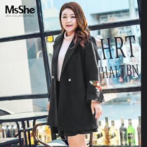 MsShe加大码女装2017新款冬装200斤胖mm刺绣大衣外套M1740290