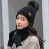 时尚护耳帽子围巾手套三件套加厚保暖毛线帽子女冬天韩版百搭针织帽