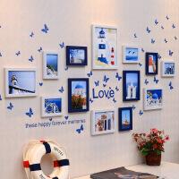 照片墙相框墙创意组合挂墙地中海心形钟表卧室背景相片墙贴
