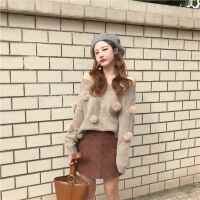 韩版针织毛衣女一字领宽松显瘦不规则开叉下摆兔毛球上衣