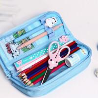 韩版简约可爱铅笔袋女孩学生多层密码锁铅笔盒大容量文具袋
