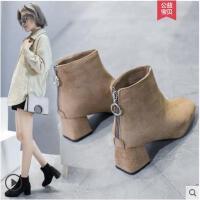粗跟加绒短靴女冬季新款加绒网红瘦瘦靴冬短筒马丁靴中跟裸靴