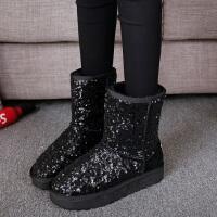 时尚亮片雪地靴女中筒冬季加绒加厚防滑厚底保暖学生棉鞋子潮短靴