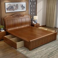 床实木床 1.5米现代简约中式储物高箱床1.8米双人实用小户型婚