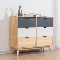 实木斗柜储物柜北欧家具收纳柜抽屉式整理柜卧室床头柜子置物柜橱 整装