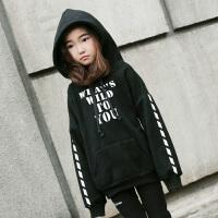 童装新款韩版女童秋加绒加厚卫衣宽松中大童儿童小学生连帽外套