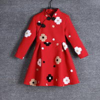 童装旗袍立领长袖民族风女童唐装裙子立体绣花亲子装母女装连衣裙 红色 80码(童装尺码)