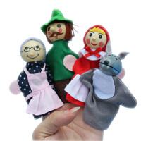 大贸商 手指偶 小红帽系列娃娃指偶 讲故事好帮手 一套4个 AF25036
