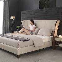 黑胡桃木家具北欧家具全实木床1.8米双人床主卧靠包现代简约风格 1800mm*2000mm框架结构