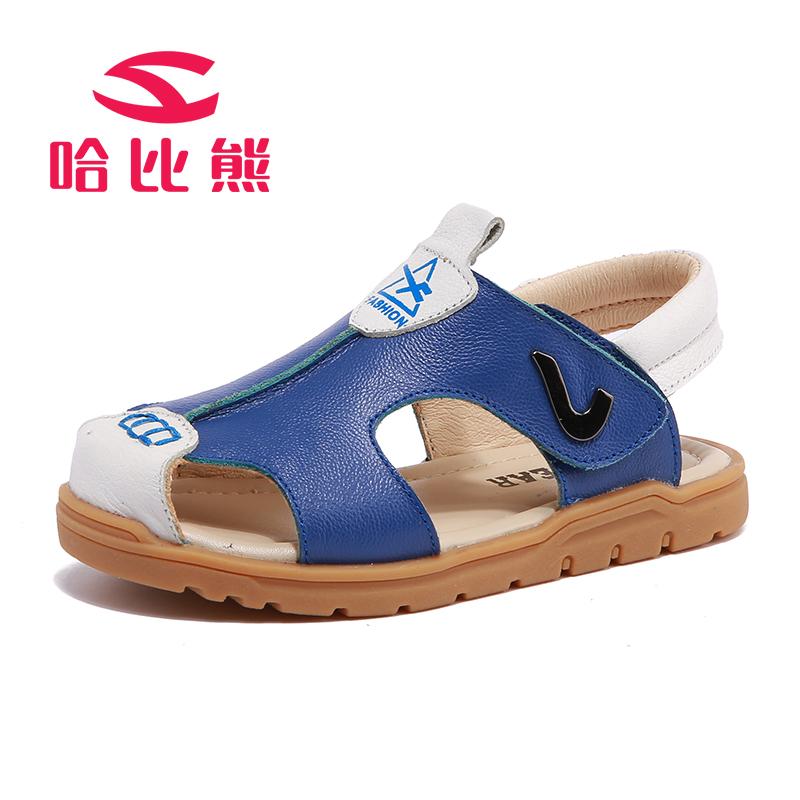 哈比熊男童包头凉鞋夏季新款儿童凉鞋男孩沙滩鞋中大童牛皮凉鞋潮